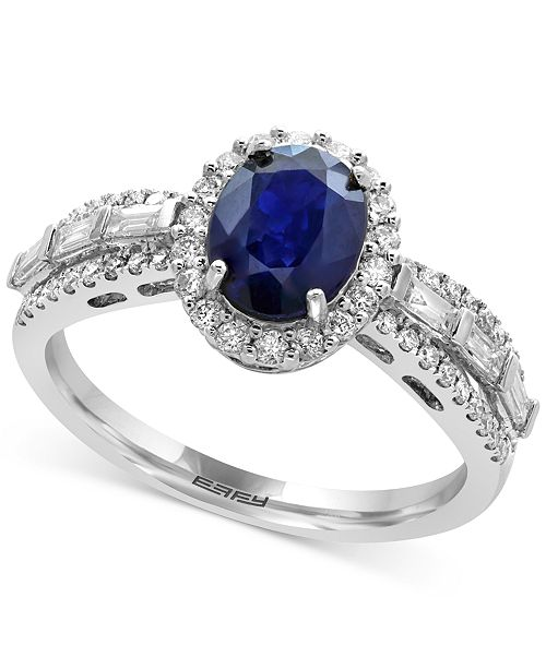 EFFY Collection EFFY® Royale Bleu Sapphire (1-3/8 ct. t.w.) and Diamond (1/2 ct. t.w.) Ring in 14k White Gold, Created for Macy's