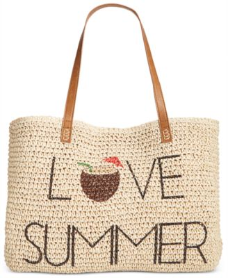 Image of Style & Co Love Summer Straw Beach Bag, Only at Macy's