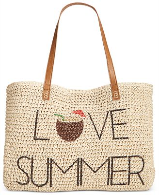 Style & Co Love Summer Straw Beach Bag, Only at Macy's - Handbags ...
