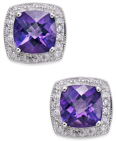 Amethyst (1-5/8 ct. t.w.) and Diamond (1/6 ct. t.w.) Stud Earrings in 14k White Gold
