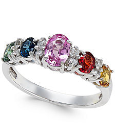 Multi-Sapphire (1-9/10 ct. t.w.) and Diamond (1/8 ct. t.w.) Ring in 14k White Gold