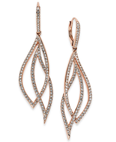 Danori Rose Gold-Tone Laurel Pavé Drop Earrings