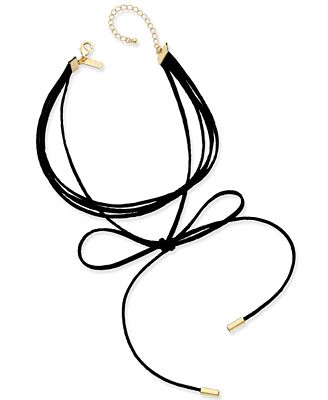 INC International Concepts Gold-Tone Imitation Suede Tie Choker Necklace, Only at Macy's