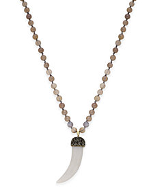 Paul & Pitü Naturally Gold-Tone Gray Beaded Horn Pendant Necklace