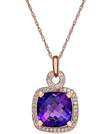 Amethyst (6-7/8 ct. t.w.) and Diamond (1/3 ct. t.w.) Pendant Necklace in 14k Rose Gold