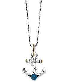 EFFY® Balissima Blue Topaz Anchor Pendant Necklace (7/8 ct. t.w.) in Sterling Silver and 18k Gold