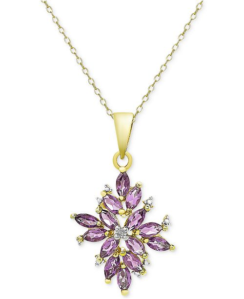 Macy's Amethyst (1-3/4 ct. t.w.) and Diamond Accent Cluster Pendant Necklace in 18k Gold-Plated Sterling Silver
