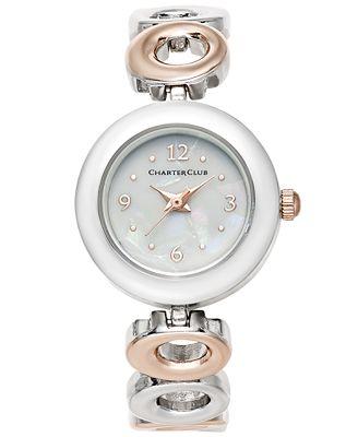 Charter Club Women's Two-Tone Bracelet Watch 23mm, Created for Macy's