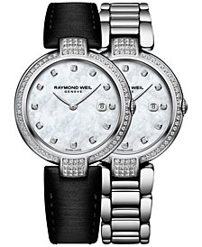 RAYMOND WEIL Women's Swiss Shine Diamond (1/2 ct. t.w.) Stainless Steel Bracelet Watch with Interchangeable Black Satin Strap 32mm 1600-SCS-97081