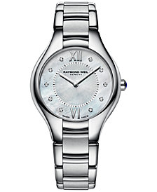 RAYMOND WEIL Women's Swiss Noemia Diamond Accent Stainless Steel Bracelet Watch 32mm 5132-ST-00985