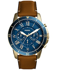 Men's Chronograph Grant Light Brown Leather Strap Watch 44mm FS5268