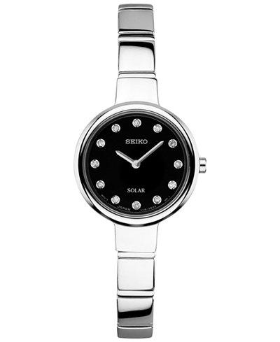 Seiko Women's Solar Diamond Accent Stainless Steel Bangle Bracelet Watch 22mm SUP365