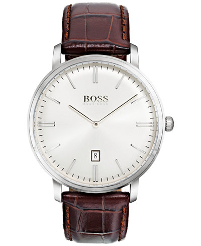 BOSS Hugo Boss Men's Tradition Brown Leather Strap Watch 40mm 1513462