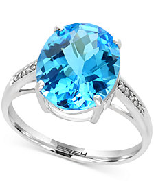 EFFY® Ocean Bleu Blue Topaz (6 ct. t.w.) and Diamond Accent Ring in 14k White Gold