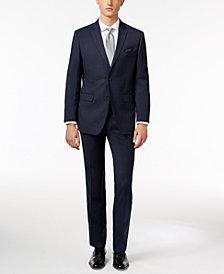 Perry Ellis Men's Slim-Fit Portfolio Navy Micro-Grid Comfort Stretch Suit