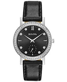 Bulova Women's Black Leather Strap Watch 32mm 96L246