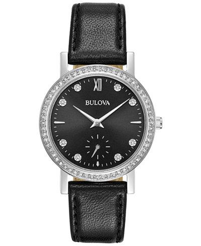 Bulova Women's Black Leather Strap Watch 32mm 96L246