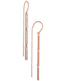RACHEL Rachel Roy Rose Gold-Tone Pavé Bar Threader Earrings