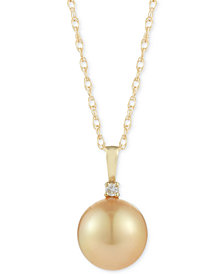 Cultured Golden South Sea Pearl (10mm) and Diamond Accent Pendant Necklace in 14k Gold