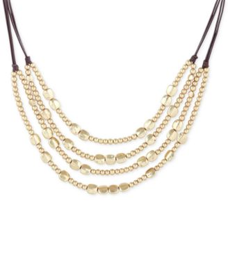 Image of Lucky Brand Beaded Chain Layered Leather Statement Necklace
