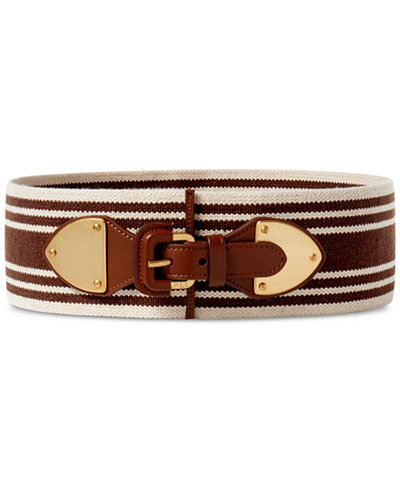 Lauren Ralph Lauren Striped Wide Stretch Belt