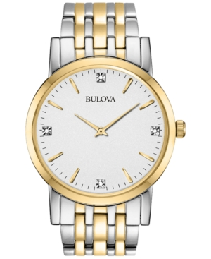Bulova Men's Diamond Accent Two-Tone Stainless Steel Bracelet Watch 38mm 98D114