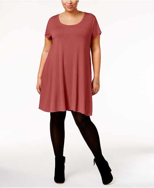 Style Co Plus Size Short Sleeve Swing Dress Created For Macys