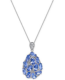 Tanzanite (3 ct. t.w.) and Diamond (1/8 ct. t.w.) Pendant Necklace in 14k White Gold, Created for Macy's