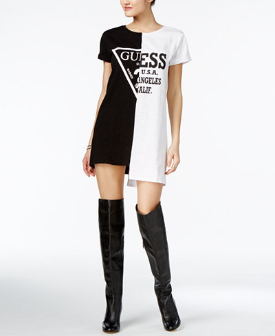 guess originals cotton logo t shirt dress dresses. Black Bedroom Furniture Sets. Home Design Ideas