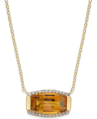 Citrine (3 ct. t.w.) and Diamond (1/8 ct. t.w.) Pendant Necklace in 14k Gold Vermeil over Sterling Silver