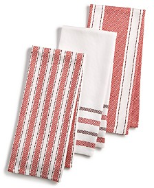 martha stewart collection 3 pc basket weave kitchen towels created for macys. beautiful ideas. Home Design Ideas