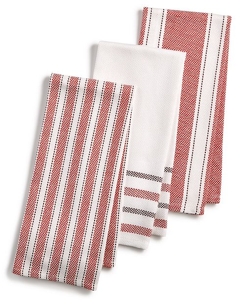 Martha Stewart Collection 3-Pc. Basket Weave Kitchen Towels ...