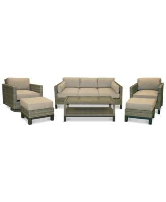 North Port Wicker Outdoor 6 Pc. Seating Set (1 Sofa, 1 Club Chair, 1 Swivel  Club Chair, 1 Coffee Table U0026 2 Ottomans) With Sunbrella® Cushions, ...