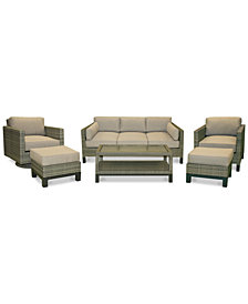CLOSEOUT! North Port Wicker Outdoor 6-Pc. Seating Set (1 Sofa, 1 Club Chair, 1 Swivel Club Chair, 1 Coffee Table & 2 Ottomans) with Sunbrella® Cushions, Created for Macy's