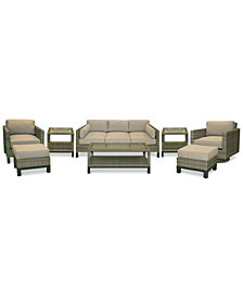 CLOSEOUT! North Port Wicker Outdoor 8-Pc. Seating Set (1 Sofa, 1 Club Chair, 1 Swivel Club Chair, 1 Coffee Table, 2 Ottomans & 2 End Tables) with Sunbrella® Cushions, Created for Macy's
