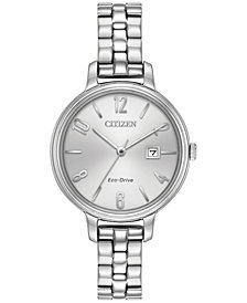 Citizen Eco-Drive Women's Silhouette Stainless Steel Bracelet Watch 31mm EW2440-53A