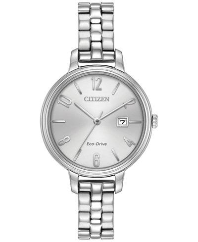 Citizen Eco-Drive Women's Silhouette Stainless Steel Bracelet Watch 31mm EW2440-53A