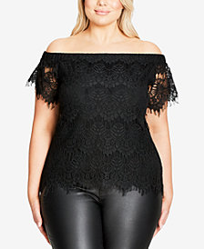 City Chic Trendy Plus Size Off-The-Shoulder Lace Top