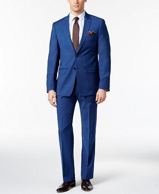 Calvin Klein Men's Slim Fit High Blue Pindot Suit - Suits & Suit ...