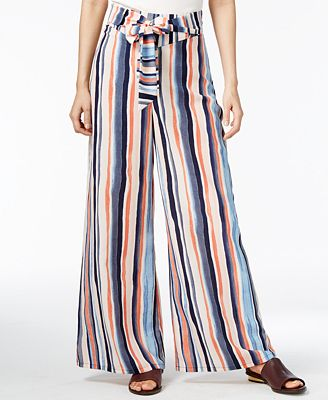 Bar III Striped Wide-Leg Pants, Created for Macy's - Pants - Women ...