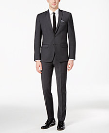Bar III Men's Skinny Fit Stretch Wrinkle-Resistant Charcoal Suit Separates, Created for Macy's