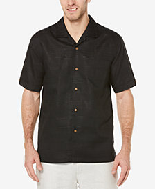 Cubavera Men's Linen Tonal Plaid Pocket Camp Shirt