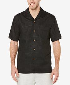 Cubavera Men's Linen Tonal Plaid Pocket Camp Shirt