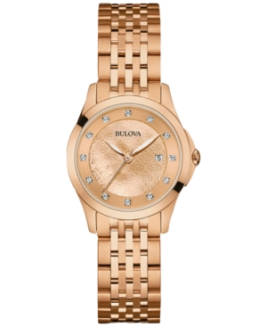 Bulova Women's Diamond Accent Rose Gold-Tone Stainless Steel
