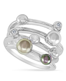Majorica Endless Pearl Ring, Sterling Silver Multicolor Organic Man Made Pearl Ring