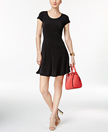 MICHAEL Michael Kors Polka-Dot Fit & Flare Dress in Regular & Petite Sizes