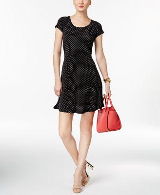 MICHAEL Michael Kors Polka-Dot Fit & Flare Dress