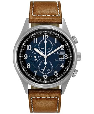 Citizen Men's Eco-Drive Chronograph Brown Leather Strap Watch 42mm CA0621-05L