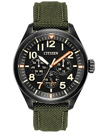 Citizen Men's Eco-Drive Military Green Nylon Strap Watch 42mm BU2055-16E