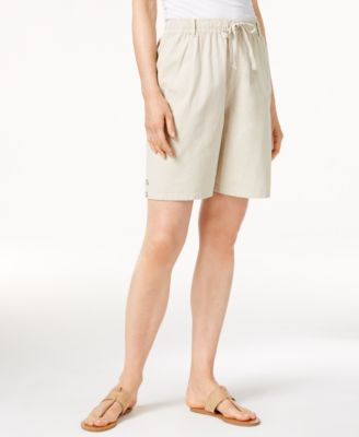 Image of Karen Scott Lisa Pull-On Cotton Shorts, Only at Macy's